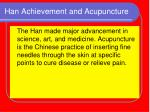 han achievement and acupuncture