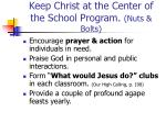keep christ at the center of the school program nuts bolts