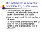 the watchword of adventist education ed p 296 continued