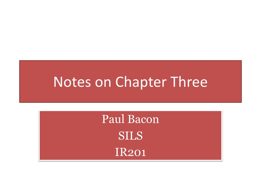 notes on chapter three l.