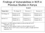 findings of vulnerabilities in w r in previous studies in kenya