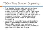 tdd time division duplexing