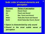 vedic order of natural elements and perception