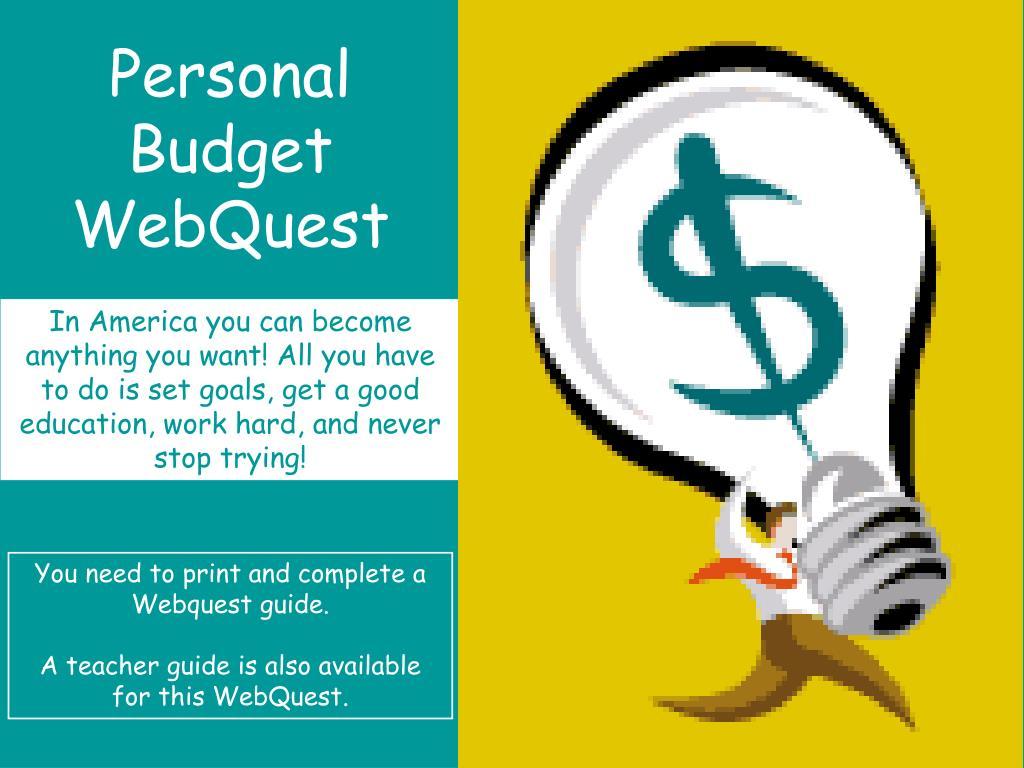 personal budget webquest l.