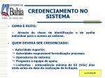 credenciamento no sistema