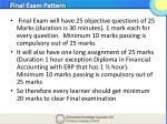 final exam pattern