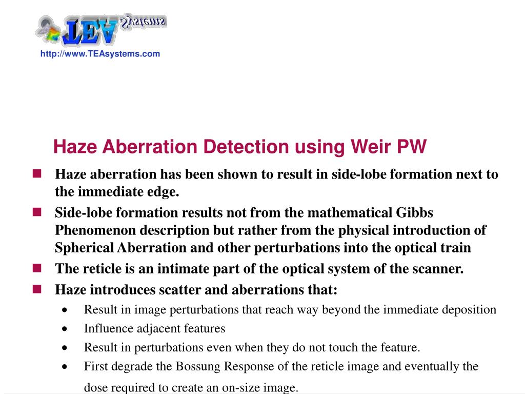 haze aberration detection using weir pw l.