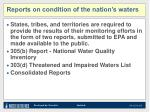 reports on condition of the nation s waters