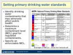 setting primary drinking water standards