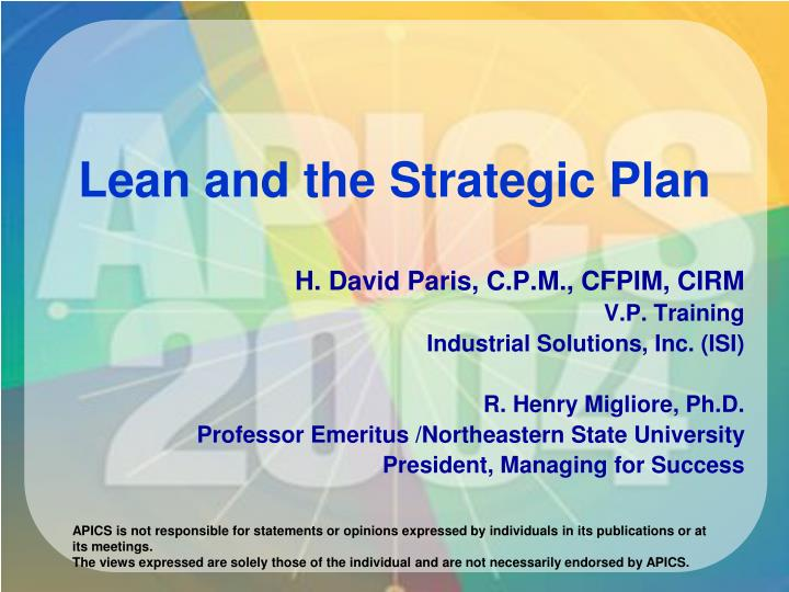 lean and the strategic plan n.