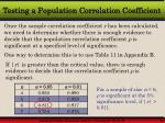 testing a population correlation coefficient