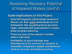 assessing recovery potential of impaired waters cont d