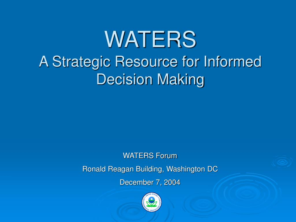 waters a strategic resource for informed decision making l.