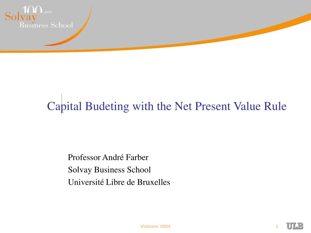 capital budeting with the net present value rule l.