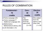 rules of combination