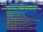 construction projects funded under inland waterways capital development plan
