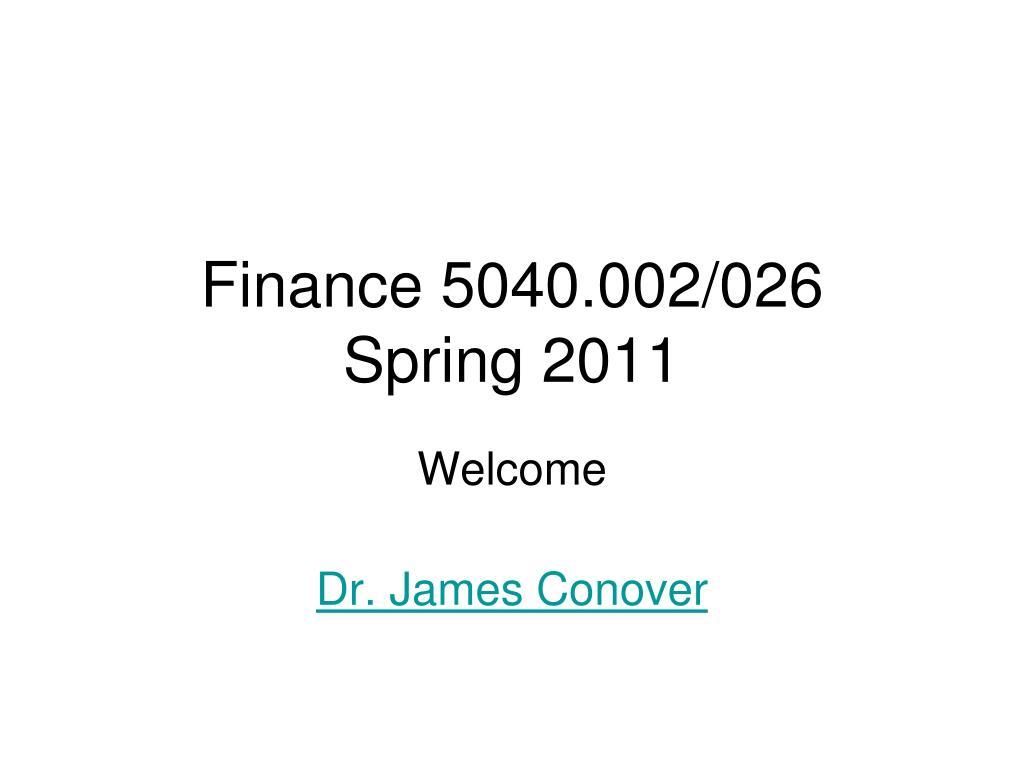 finance 5040 002 026 spring 2011 l.