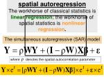 the simultaneous autoregressive sar model