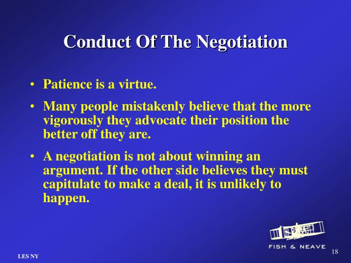 Conduct Of The Negotiation