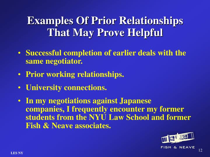 Examples Of Prior Relationships