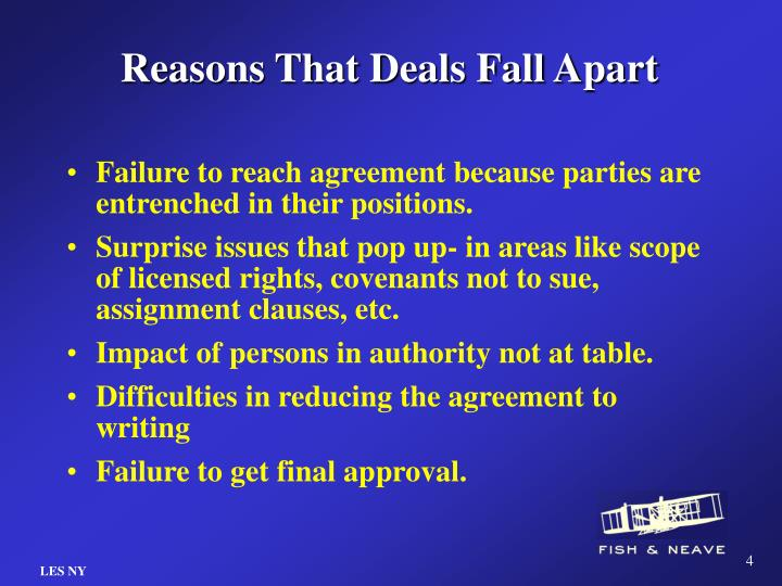 Reasons That Deals Fall Apart
