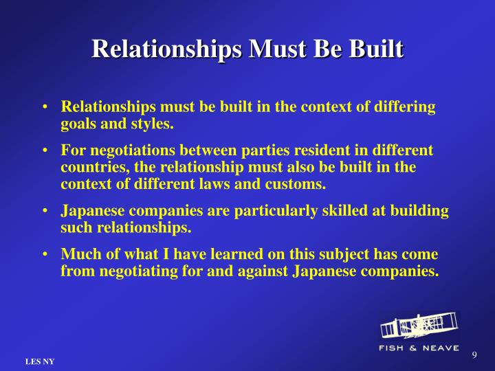 Relationships Must Be Built