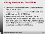 adding absolute and e mail links