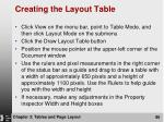creating the layout table