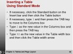 inserting a table using standard mode