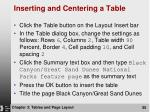 inserting and centering a table