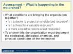 assessment what is happening in the watershed