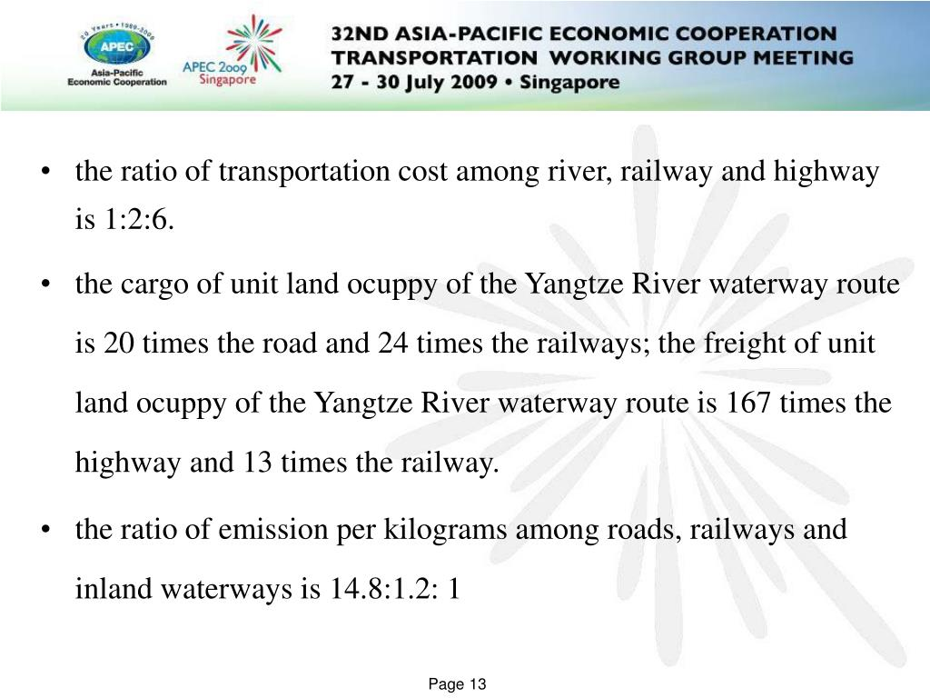 the ratio of transportation cost among river, railway and highway is 1:2:6.