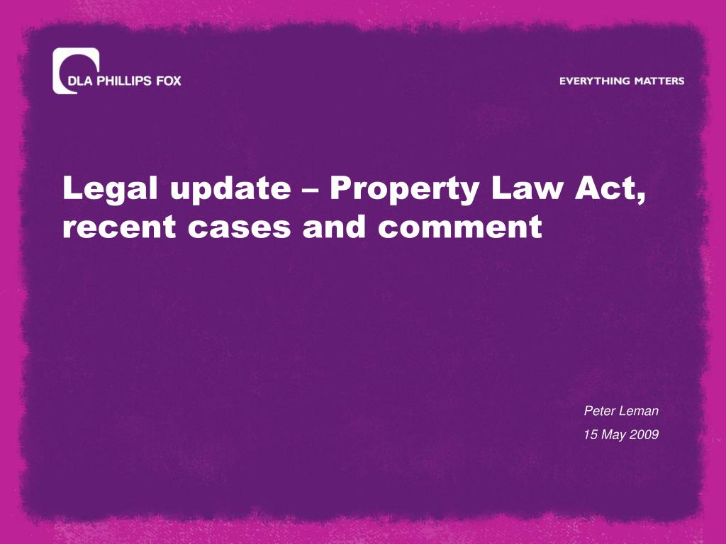 legal update property law act recent cases and comment l.