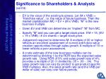 significance to shareholders analysts cont d