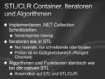 stl clr container iteratoren und algorithmen