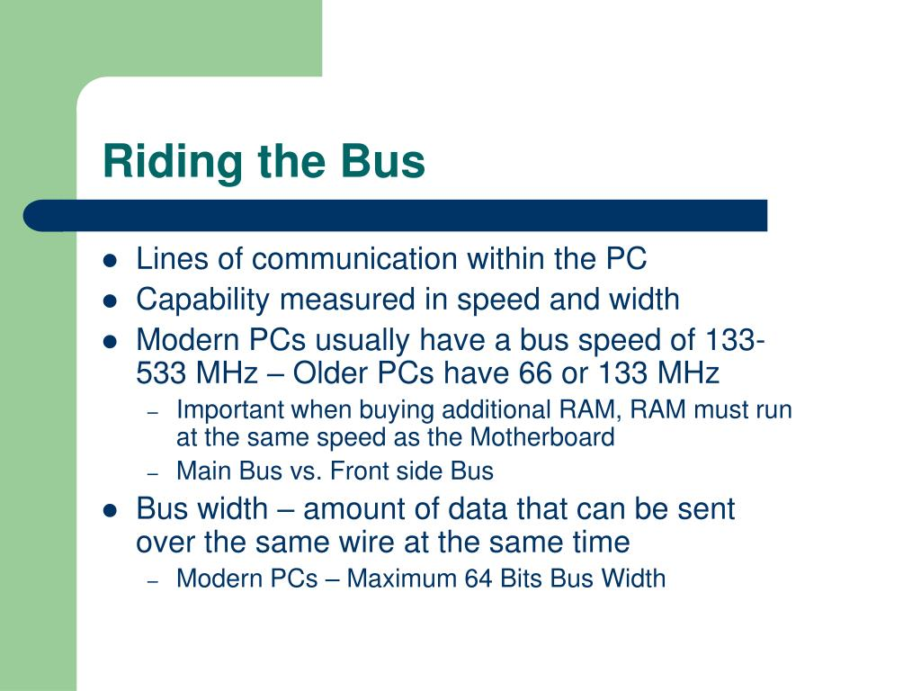 Lines of communication within the PC
