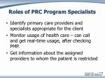 roles of prc program specialists