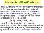 interpretation of min mc selections