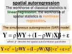 the simultaneous autoregressive sar model