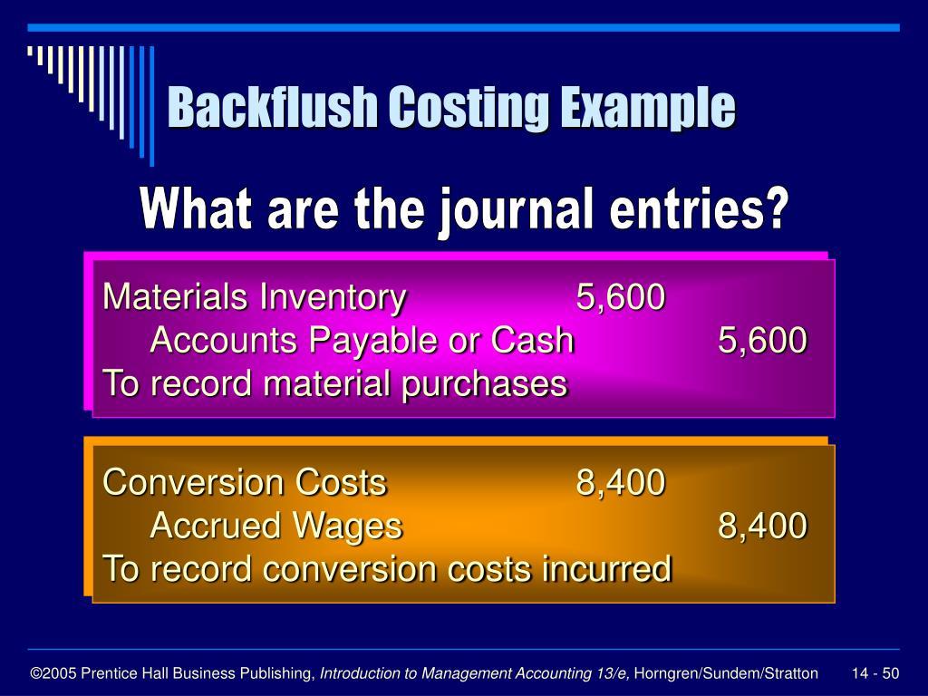 Backflush Costing Example