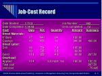 job cost record
