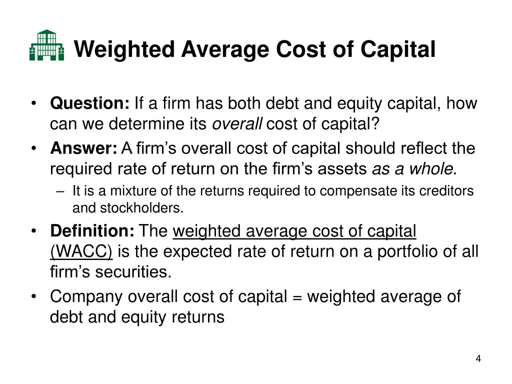 weighted average cost of capital So let's start writing down our formula for weighted average cost of capital.