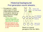 historical background first generation neural networks
