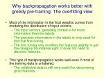 why backpropagation works better with greedy pre training the overfitting view
