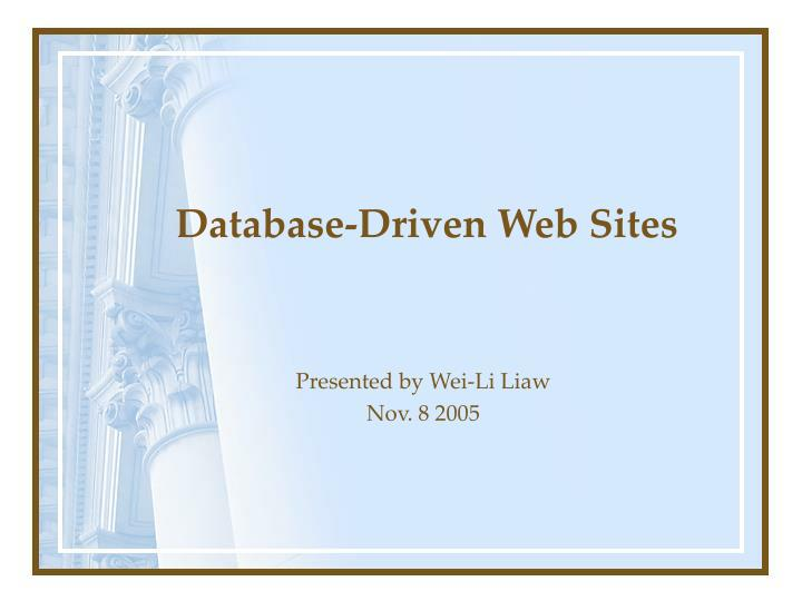 database driven web sites n.