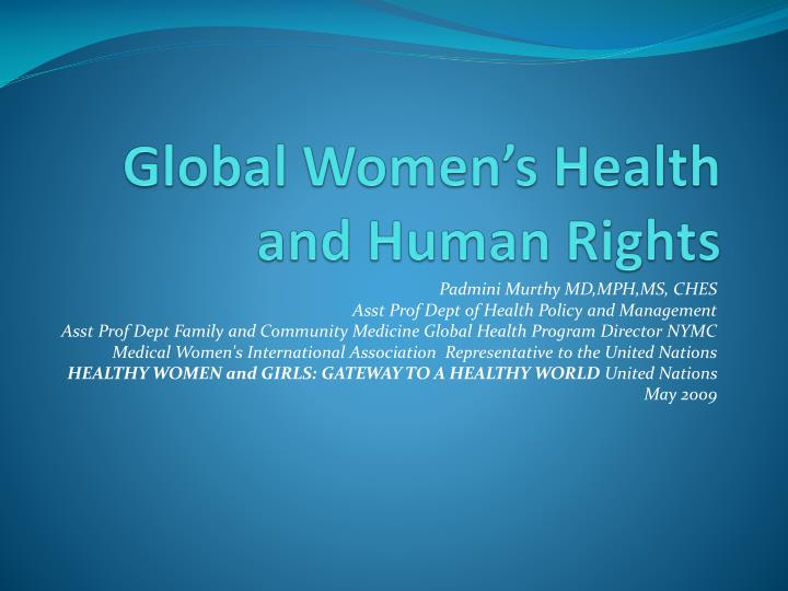 global women s health and human rights n.