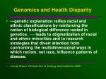 genomics and health disparity