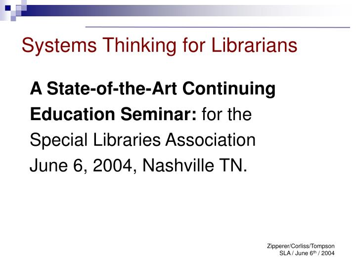 systems thinking for librarians n.
