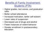 benefits of family involvement students pta