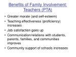 benefits of family involvement teachers pta